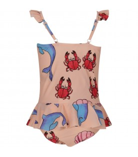 Pink girl swimsuit with dolphins and crabs