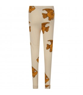 Ivory girl leggings with fishes