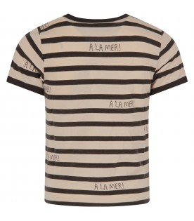 Ivory and grey T-shirt for boy with grey writing