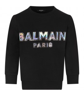 Black sweatshirt with iridescent logo for girl