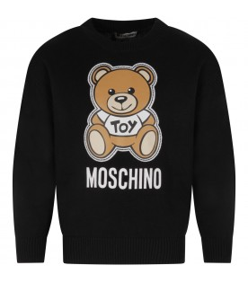 Black kids sweater with colorful Teddy Bear