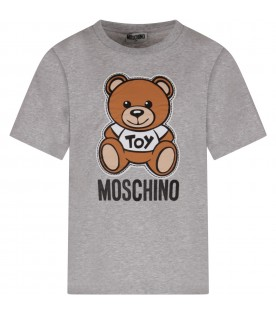 Grey kids T-shirt with colorful Teddy Bear