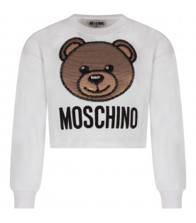 White girl sweatshirt with sequined Teddy Bear