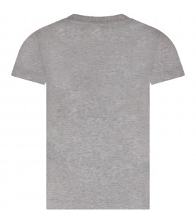 Grey T-shirt for kid with black logo
