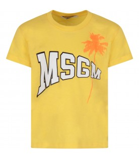 Yellow T-shirt with logo and palm tree for kids