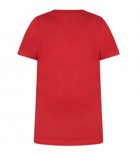 Red kids T-shirt with double logo