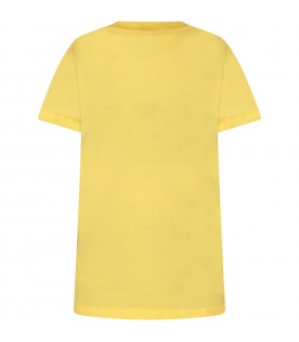 Yellow kids T-shirt with double logo
