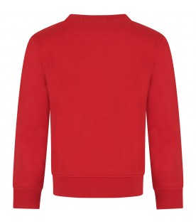 Red kids sweatshirt, with black logo