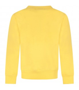 Yellow kids sweatshirt, with black logo