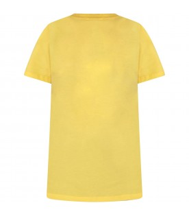 Yellow kids T-shirt with black logo and writing