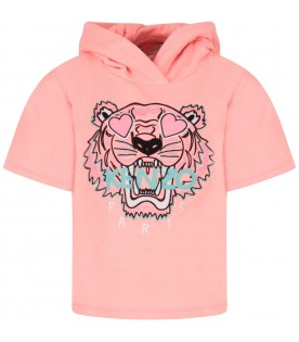Neon pink girl sweatshirt with iconic tiger