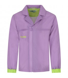 Purple kids windbreaker with logo