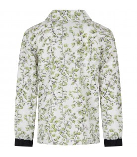 White kids windbreaker with flowers