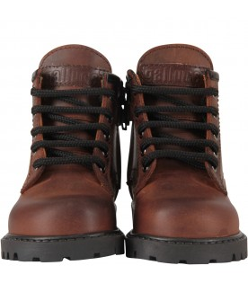 Brown ankle boots for kid with logo
