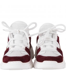 White sneakers for kid with logo