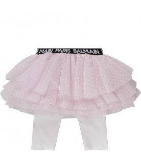 Pink skirt with logo for baby girl