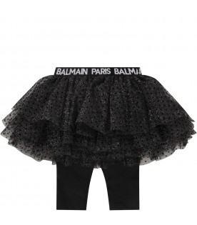 Black skirt with logo for baby girl