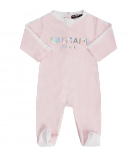 Pink set with iridescent logo for babygirl