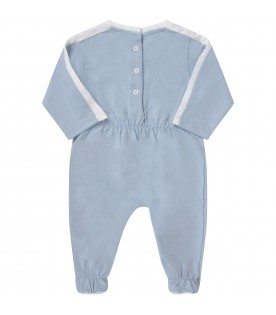 Light blue set with iridescent logo for babyboy