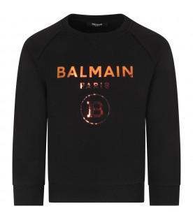 Black kids sweatshirt with double logo