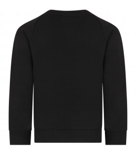 Black sweatshirt with double logo for kid