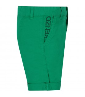 Green boy short with logo