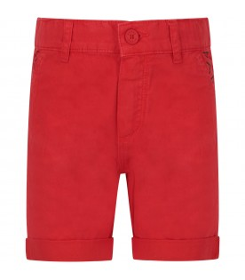 Red boy short with logo