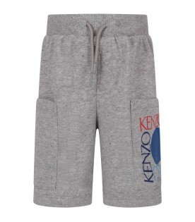Grey boy short with colorful logos