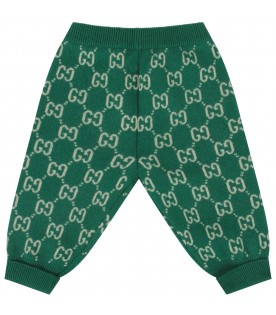 Green babykids pants with double GG