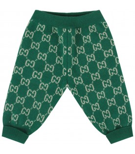 Green pants with double GG for baby boy
