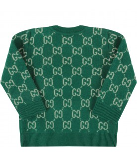 Green babykids sweater with double GG