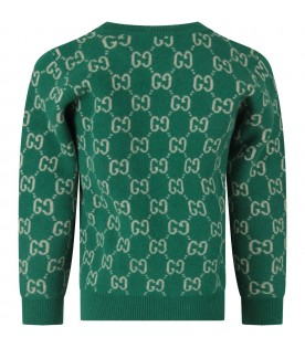 Green kids sweater with double GG