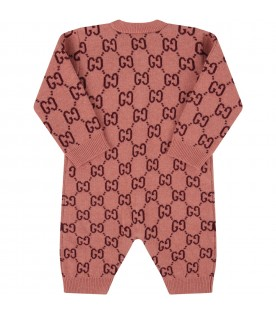 Pink babygrow with double GG for baby girl