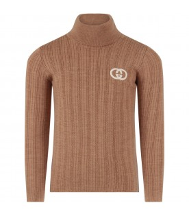Camel sweater with double GG for boy