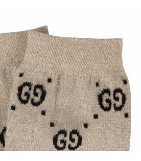 Beige socks for girl with black doube GG