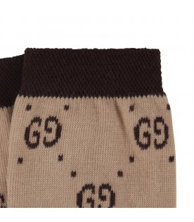 Beige socks for kid with black doube GG