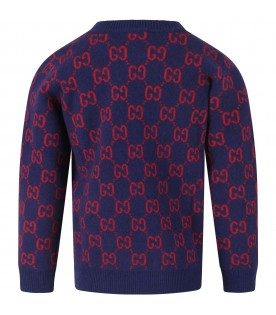 Blue kids sweater with double GG