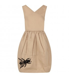 Beige dress for girl with black bee