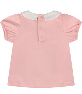Pink babygirl T-shirt with logo and Teddy Bear