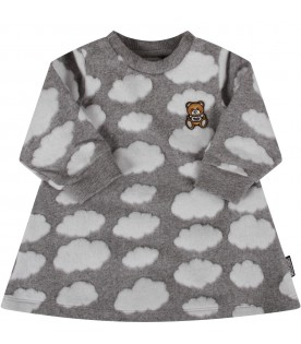 Grey dress with clouds for baby girl