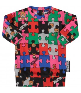 Multicolor dress with puzzle for baby girl