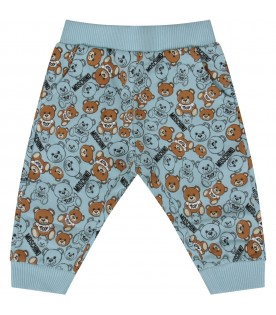 Light blue sweatpants with teddy bears for baby boy