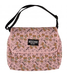 Pink babygirl changing bag with Teddy Bears