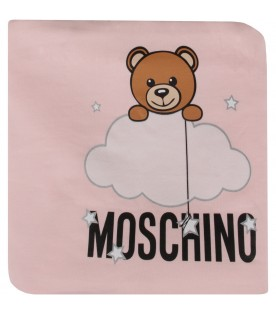 Pink blanket with teddy bear and cloud for baby girl