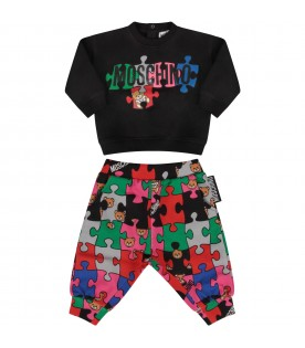 Multicolor tracksuit with puzzle for baby boy
