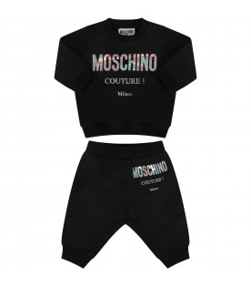 Black tracksuit with logo for babykid