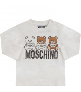 White babykids T-shirt with logo and Teddy Bears