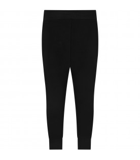 Black sweatpant with red logo for boy