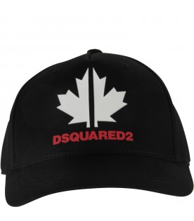 Black hat with red logo for boy