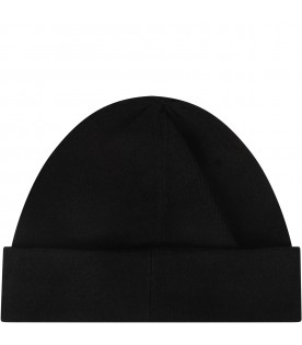 Black kids hat with red logo